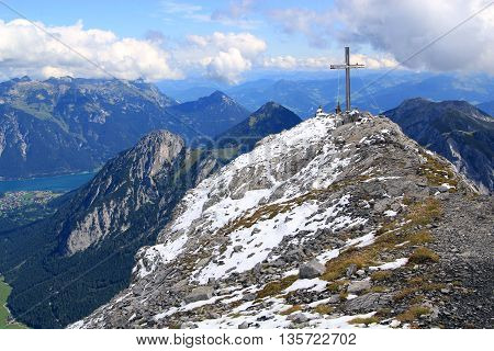 Summit With Summit Cross In The Alps