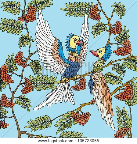 Birds on a tree branch. Love Song. Illustration