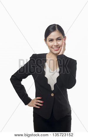 business woman is surprising isolated on white background asian beauty