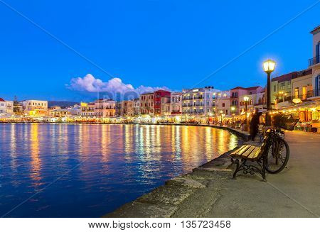 illuminated venetian bay of Chania at night, Crete, Greece