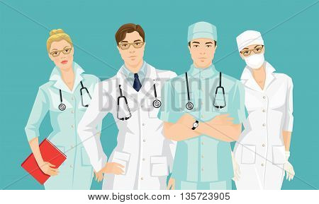 Group of medical people isolated on color background. Serious man and woman in glasses. A young doctor in medical gown and hat isolated on white background.