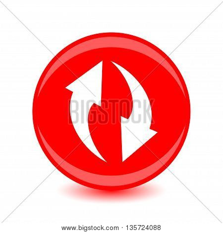 Vector illustration of round red icon circulation