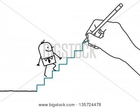 Drawing big hand and businessman - going up