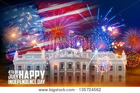 illustration of United States of America flag on Fireworks background for Fourth of July celebration