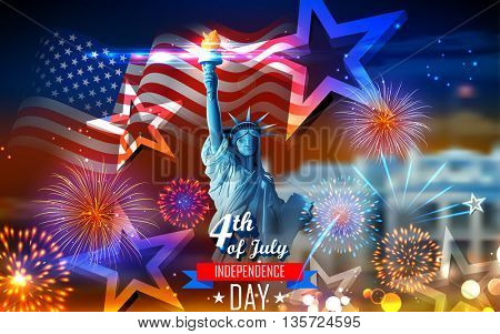 illustration of Statue of Liberty on American flag background for Independence Day