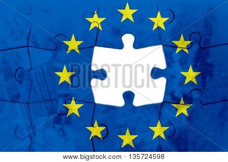 Brexit - European Uniun flag on puzzle background