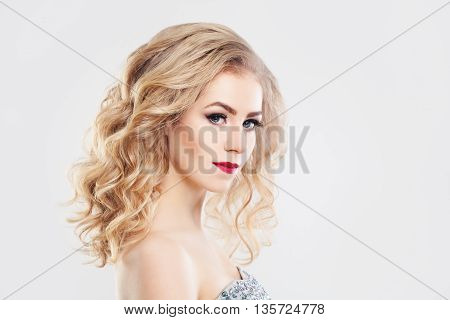 Glamorous Woman Fashion Mode with Curly Blonde Hair