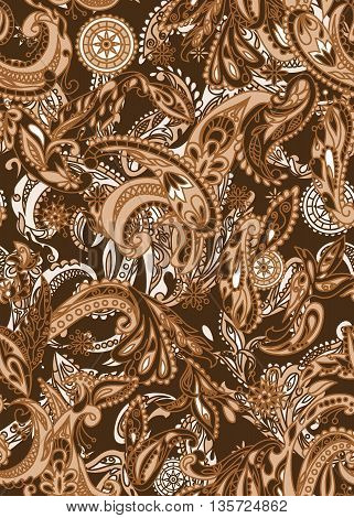 Paisley seamless elegant design. Traditional style for fabric