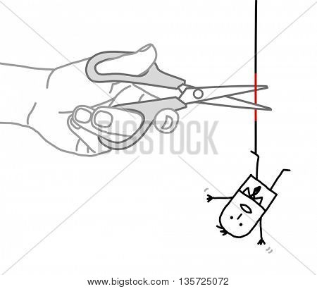 Big hand and  businessman - cutting the rope