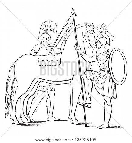 Brand and single rider on horseback, vintage engraved illustration. Magasin Pittoresque 1852.