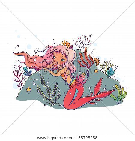 Vector Illustration of a Mermaid and Octopus King on White Background Hand Drawn, Doodle Cartoon Character