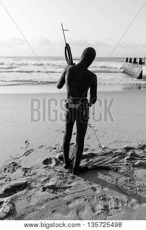 Diver with spear gun line buoy beach ocean swimming entry black and white.
