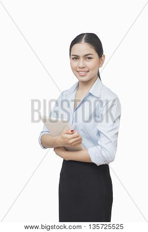 business woman lean something and use digital tablet pc isolated on white background asian beauty