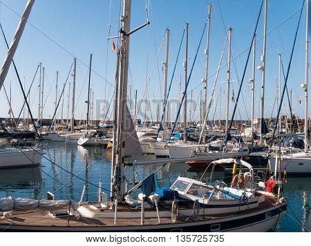 Sailing boats anchored at marina at Gran Canary Island