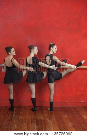 Ballerinas Practicing At Barre Against Red Wall