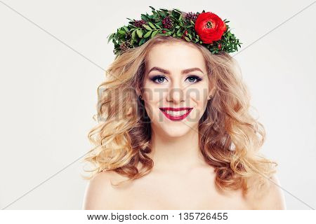 Woman with Clear Skin Curly Blond Hair and Flowers Wreath