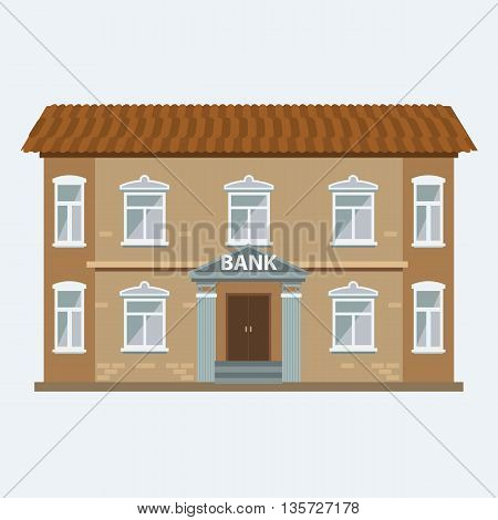 Bank building icon isolated on the white background. Vector Illustration with flat color style