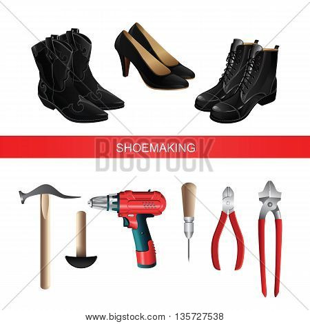 Banner with shoemaking professional equipment on white background. Black boots and shoes. Vector illustration of electric screwdriver or drill