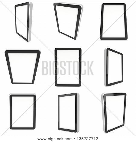 Tablet black pc computer with blank screen set. 3d render of lcd screen pad collection isolated on white background. High Resolution ad template for your apps design.