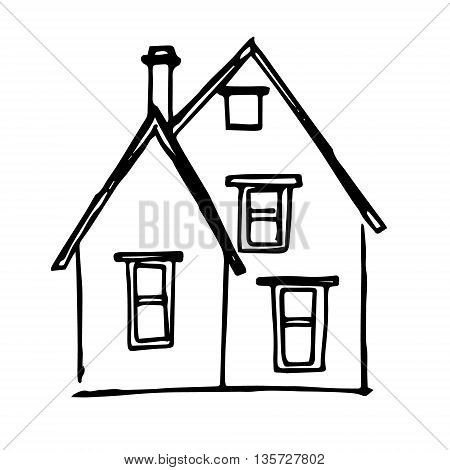 Graphic image of a house with a pipe. Abstraction on a white background. Sloppy picture of the child vector
