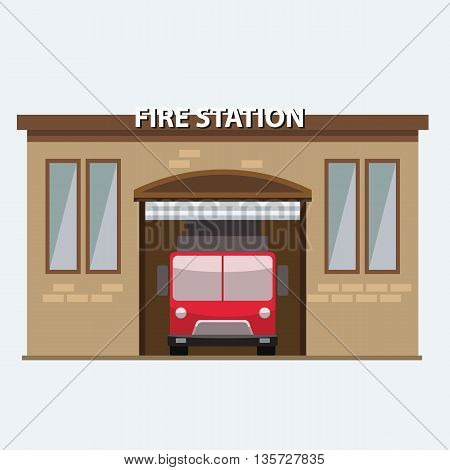 Building of fire station with a truck car in garrage. Illustrated vector with flat color style.