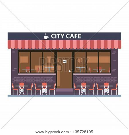Cafe building. Summer terrace. Element for construction of urban and village landscapes. Vector flat illustration