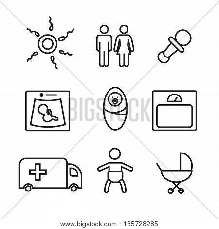 Medicine and pregnancy vector line icons set eps10