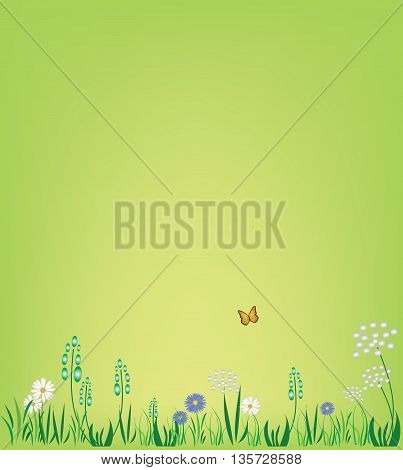 Illustration of sunny and beautiful summer field with flowers and butterfly