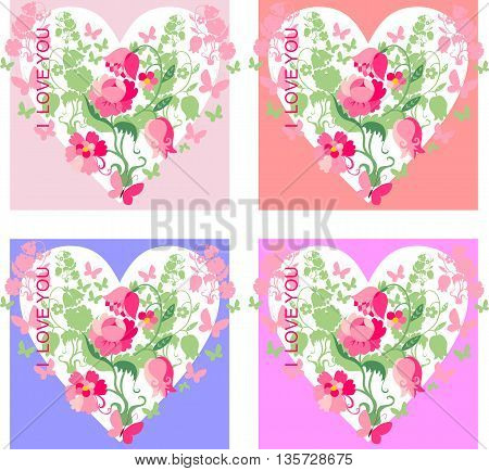 Set of love cards. Beautiful hearts with flowers and butterflies for Valentines Day. Vector illustration.