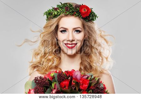 Beautiful Blond Hair Woman with Summer Flowers