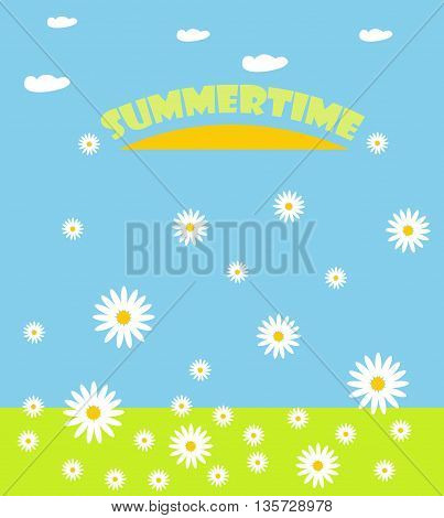 Illustration of sunny and beautiful summer with chamomile and clouds