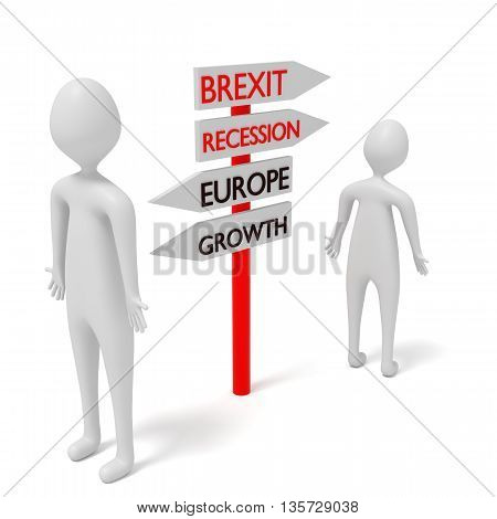 Brexit and Europe: guidepost with 3d men 3d illustration