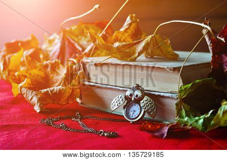 Autumn still life.Old books with bronze clock between pages among the autumn leaves. Selective focus at the clock.