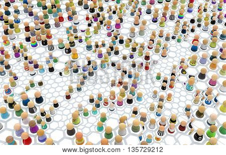 Crowd of small symbolic figures linked hexagon cells 3d illustration horizontal