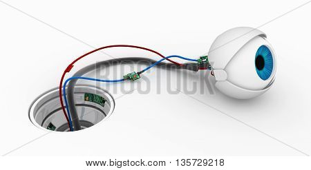 Robotic round eyeball white surface socket 3d illustration horizontal