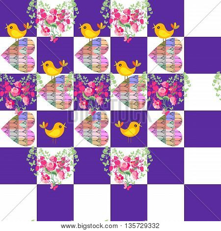 Seamless pattern with floral hearts and birds on geometrical background. Vector illustration for Valentine day.