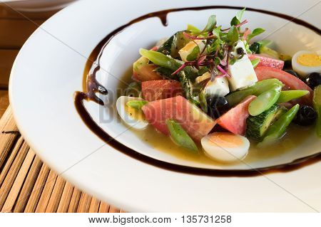 Close Up On A Plate Of Chef's Salad