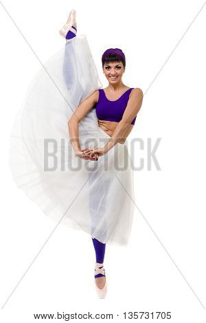young woman dancing, isolated in full body on white background