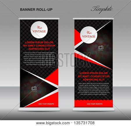 Black and red Roll up banner stand template vintage banner poster flyer for business