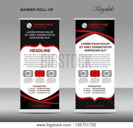 Black and red Roll up banner stand template vintage banner poster vector illustration