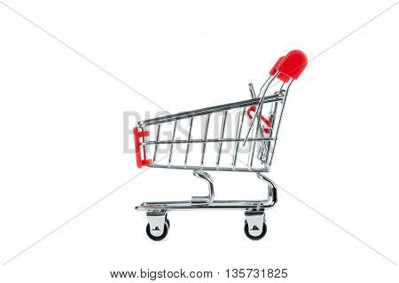 Red Shopping Cart Isolated On White Bacnground