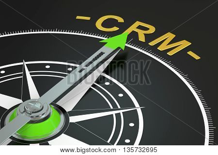 CRM compass concept 3D rendering on black background