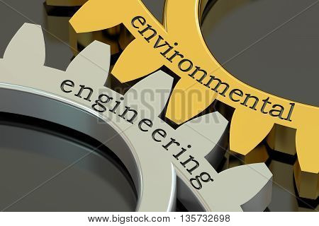 environmental engineering concept on the gearwheels 3D rendering