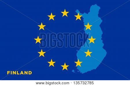 Flag of European Union with Finland on background. Vector EU flag