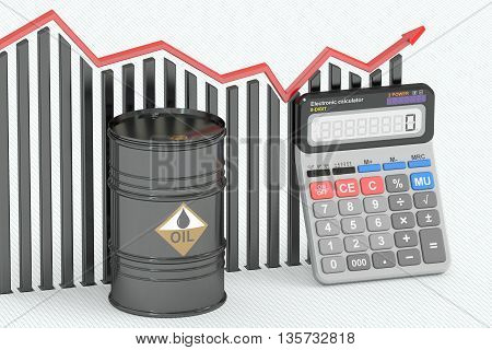 Oil price concept chart with calculator and oil barrel. 3D rendering