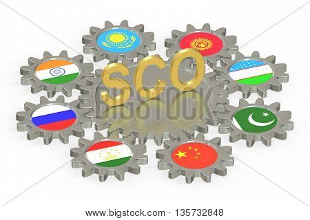 SCO concept 3D rendering isolated on white background