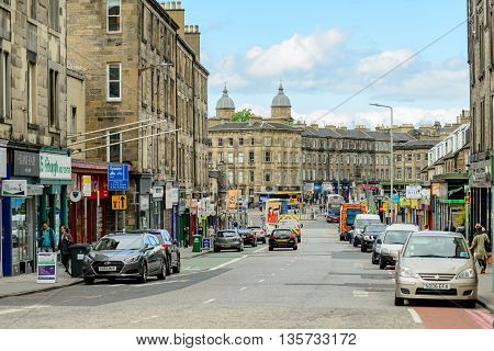 EDINBURGH SCOTLAND - JUNE 20 2016: Retail area in Dalry Road in the west end of Ediinburgh.