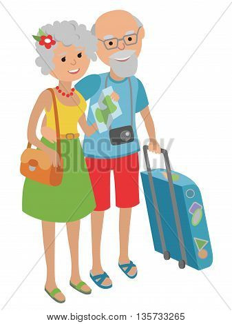 Vector illustration of elderly couple traveling isolated on white background in flat style.