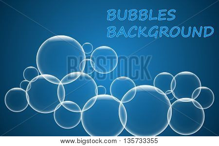 Abstract blue bubbles background. Vector illustration EPS 10