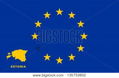 Referendum of the Estonia membership of the European Union. EU flag with the country of Estonia. The concept of leaving EU. Vector illustration